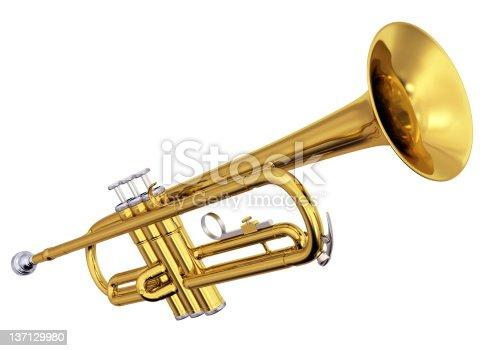 istock Brass trumpet on white background 137129980
