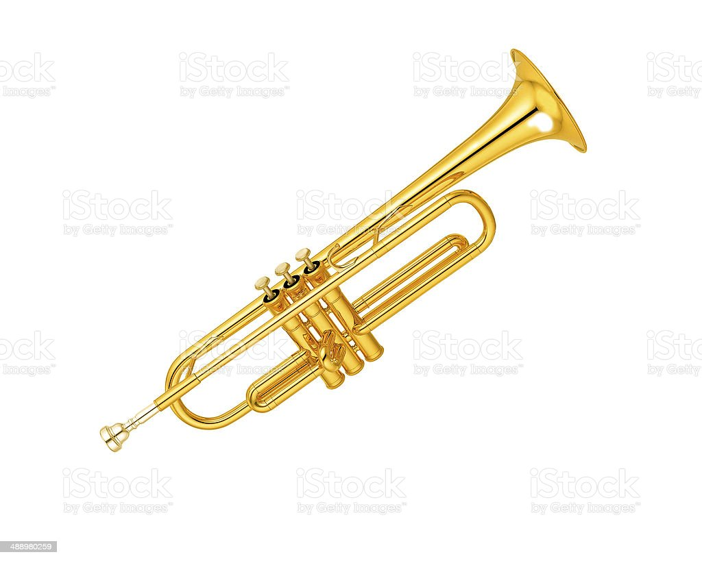 brass trumpet stock photo
