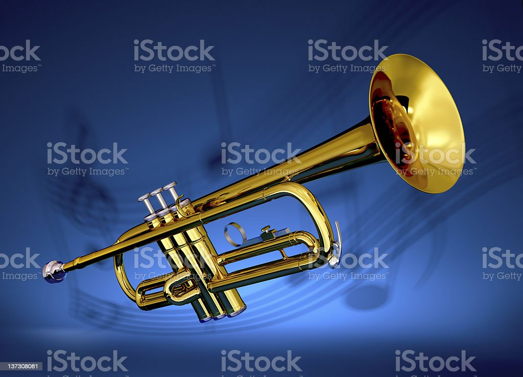 Brass trumpet with musical backdrop stock photo