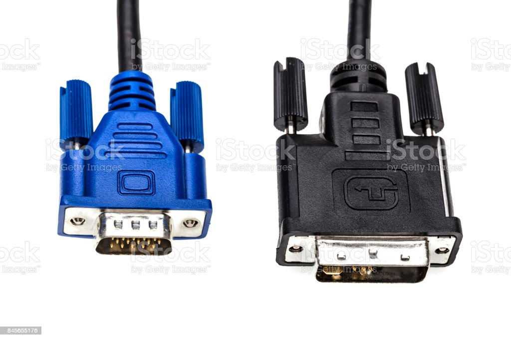 Brass VGA or DVI cable isolated on white background stock photo
