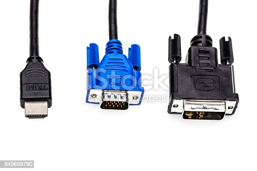 Brass VGA or DVI cable isolated on white background. VGA cable