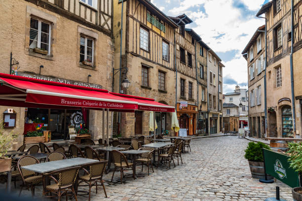 Brasserie near the Cathedral in Limoges. stock photo