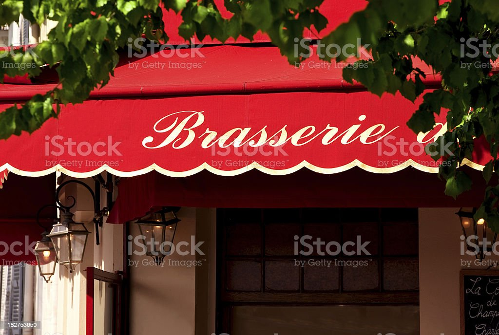 Brasserie Sign in Paris, France royalty-free stock photo