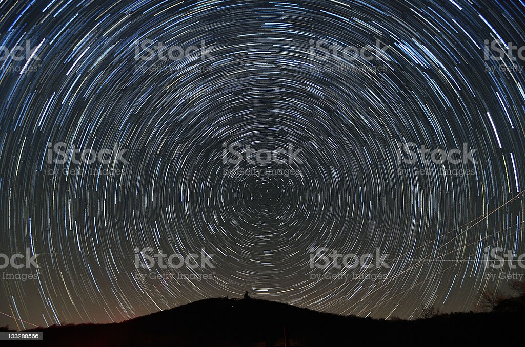 Brasstown Bald and Star Trails stock photo