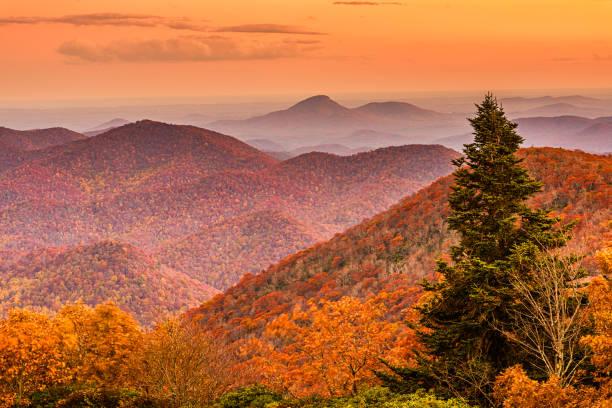 Brasstown Bald, Georgia, USA view of Blue Ridge Mountains in autumn stock photo