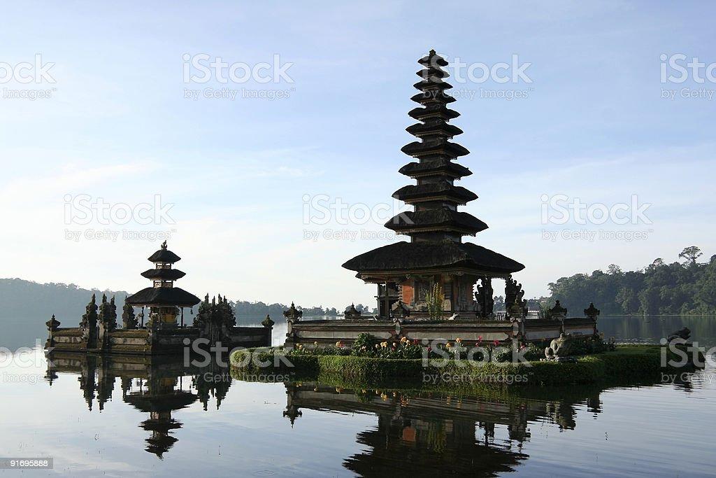 brataan lake temple dawn bali indonesia royalty-free stock photo