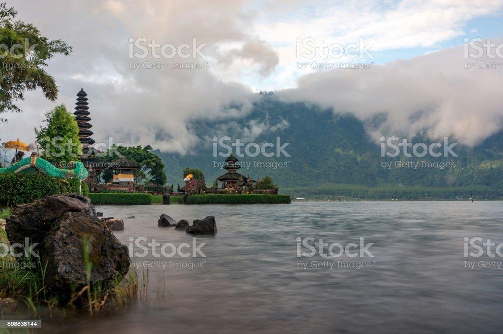 Bratan lake and Ulun Danu temple stock photo