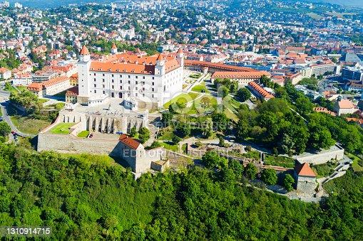 Bratislava city aerial panoramic view. Bratislava is a capital of Slovakia.