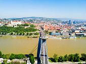 Danube river aerial panoramic view in Bratislava. Bratislava is a capital of Slovakia.