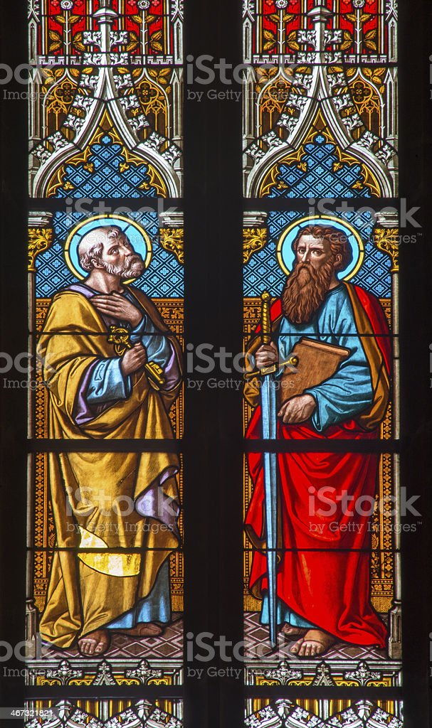 Bratislava - Apostle Peter and Paul from windowpane of cathedral stock photo