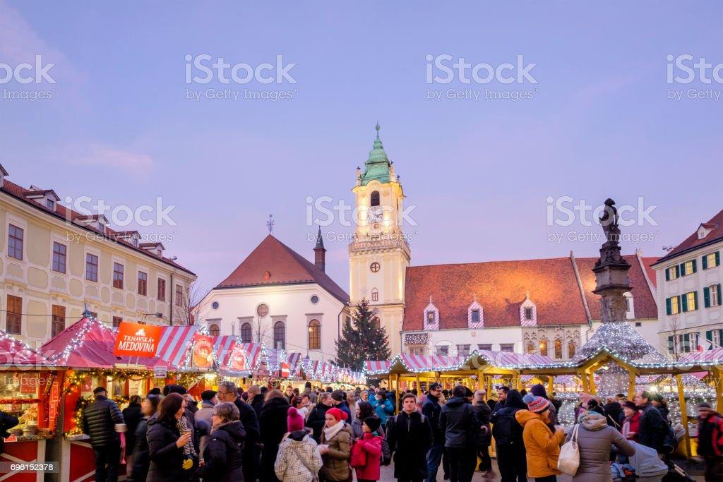 Christmas Bratislava.Bratislava At Christmas The Hlavne Namestie Slovakia Stock