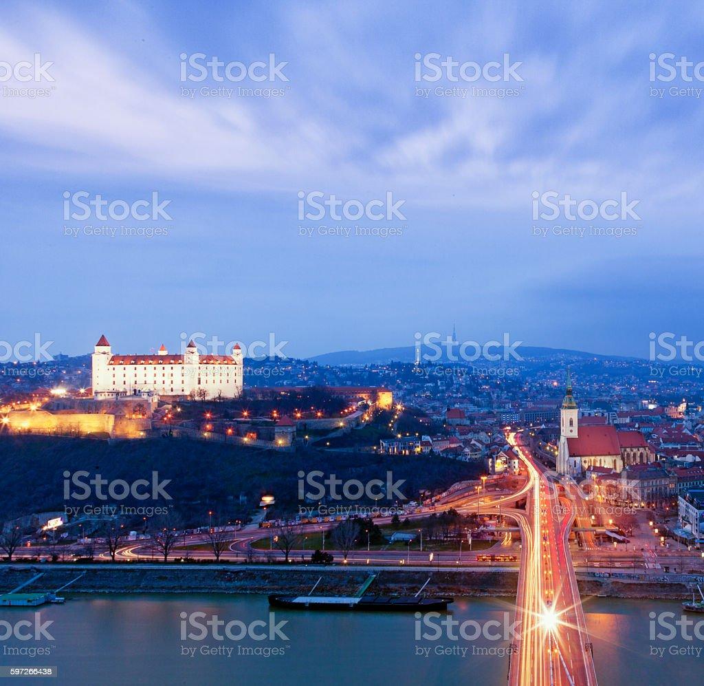 Bratislava at dusk photo libre de droits