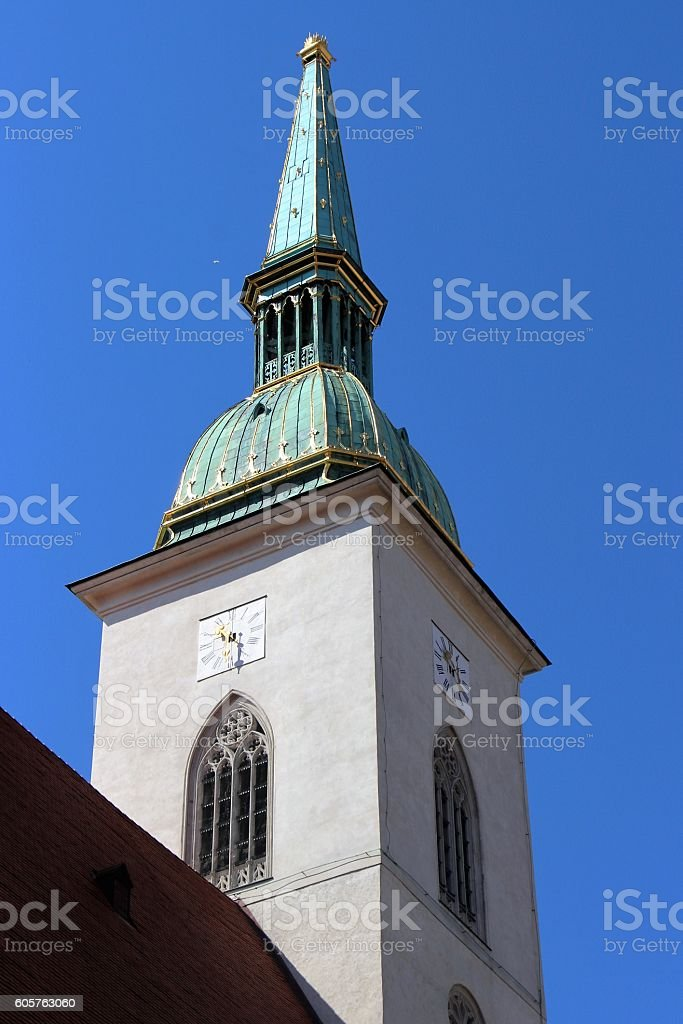 bratislava - belfry of the cathedral stock photo