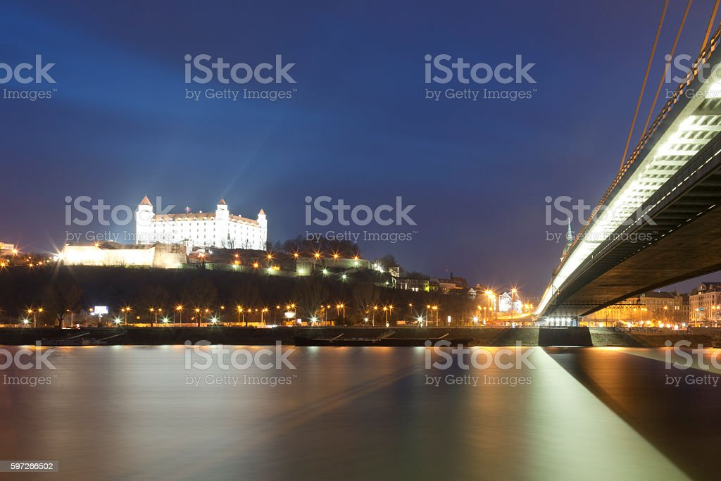 Bratislava Castle at night royalty-free stock photo