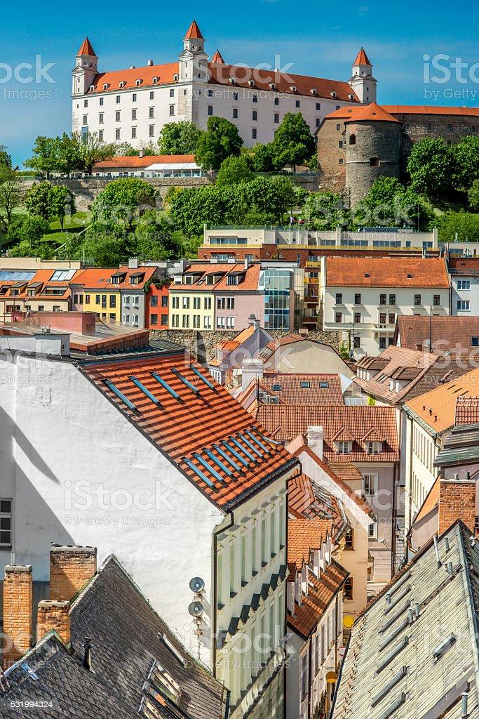 Bratislava castle hill stock photo