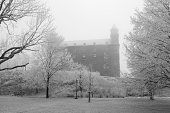The Bratislava Castle during a winter morning after a recent snowfall (black and white)