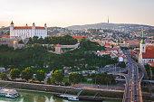 Bratislava city panorama in the evening. Historical city center