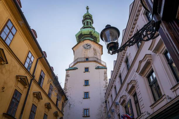 Bratislava clock tower in the historical center stock photo