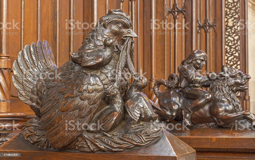 Bratislava -  Clocking hens symbolic sculpture in cathedral royalty-free stock photo