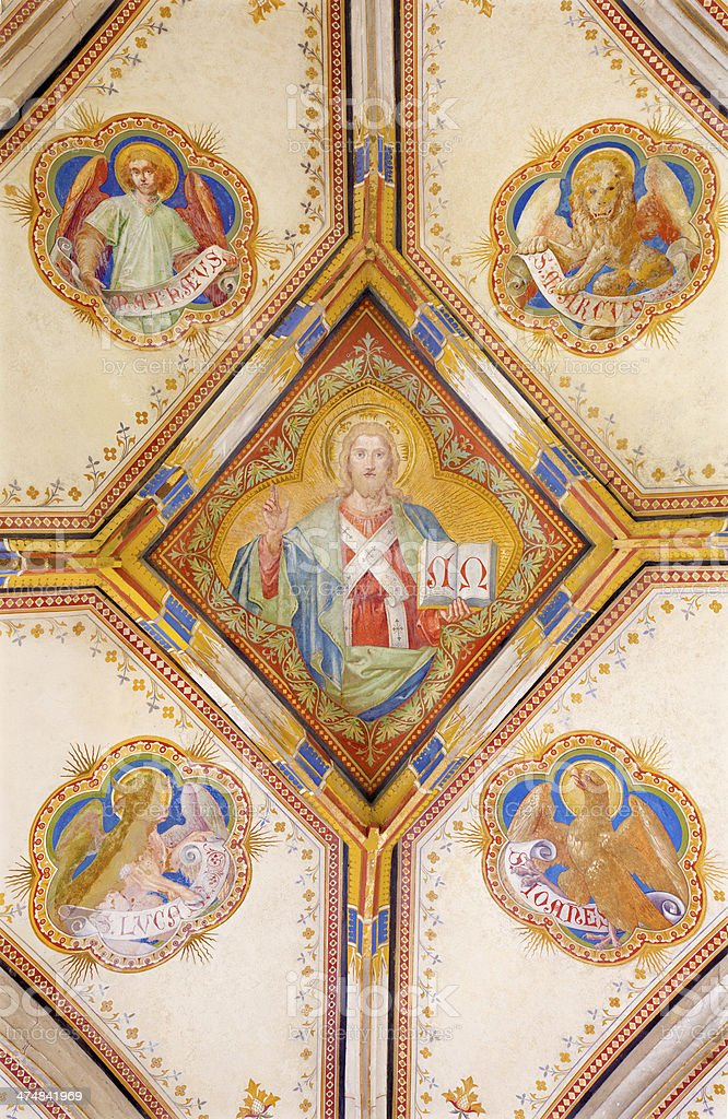 Bratislava - Fresco of Christ and four evangelists in cathedral stock photo