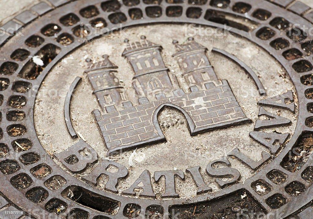Bratislava Historical Manhole Cover stock photo