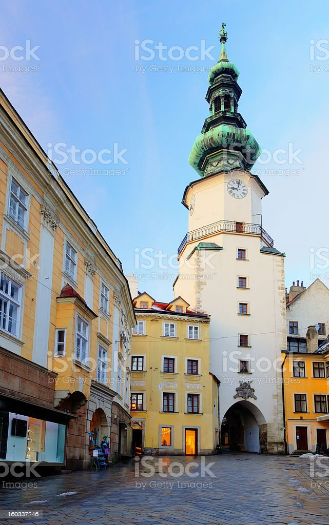 Bratislava - Michael Tower (Michalska Brana), Slovakia. Historic City Gate. stock photo