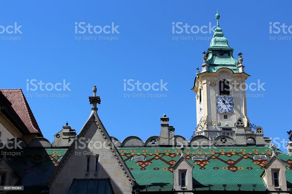 bratislava - roof of the town hall stock photo