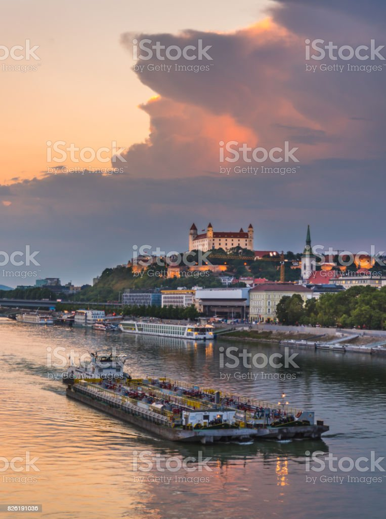 Bratislava Skyline with Castle stock photo