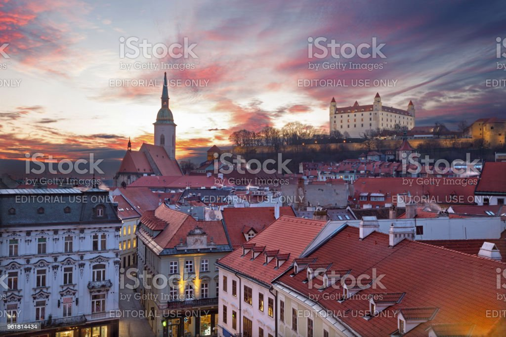 Bratislava - The outlook from the Old Town Hall in evening dusk. stock photo