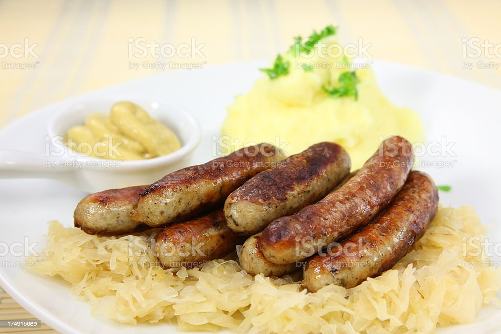 Bratwurst and Sauerkraut stock photo