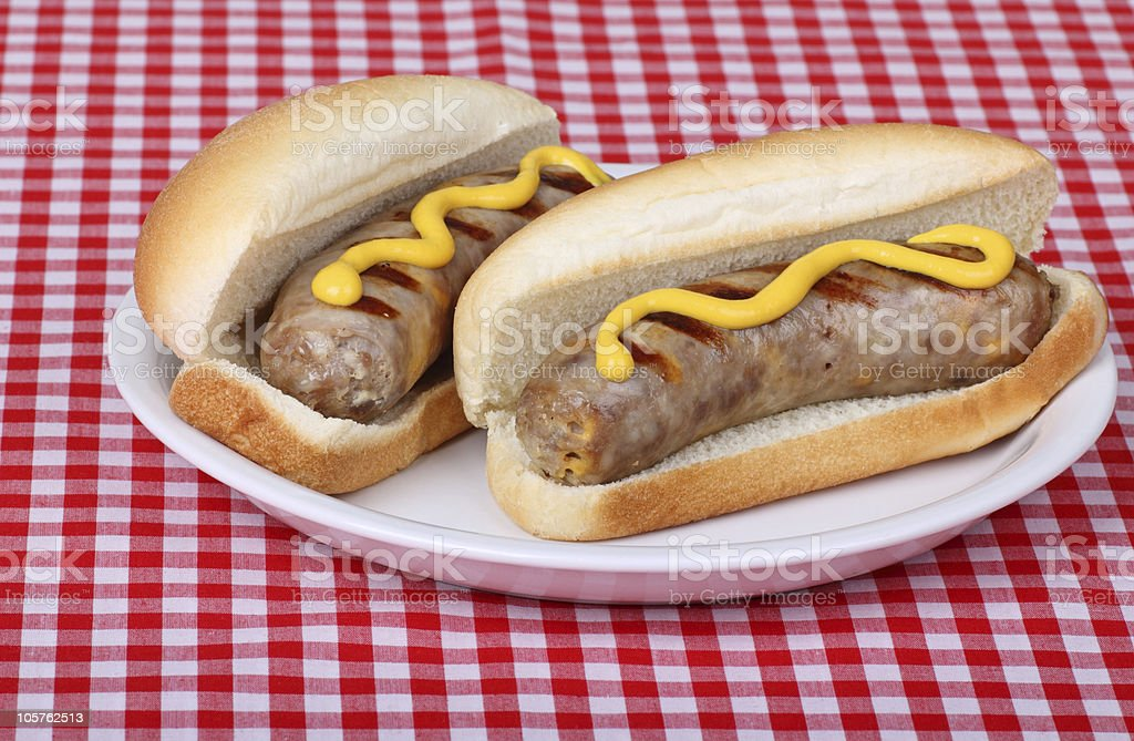 Bratwurst on a Bun bildbanksfoto