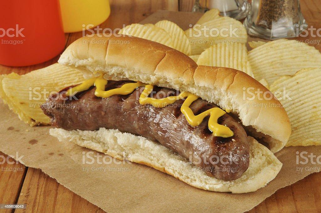Bratwurst with mustard bildbanksfoto