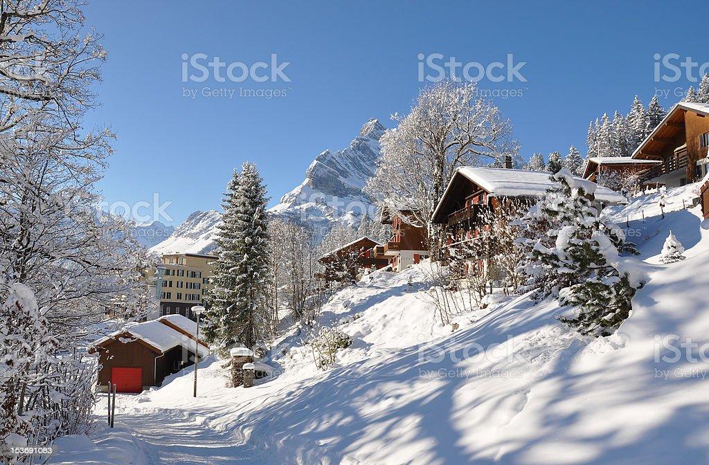 Braunwald, famous Swiss skiing resort stock photo