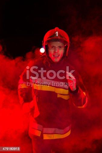 istock Brave fireman in smoke. 479180913