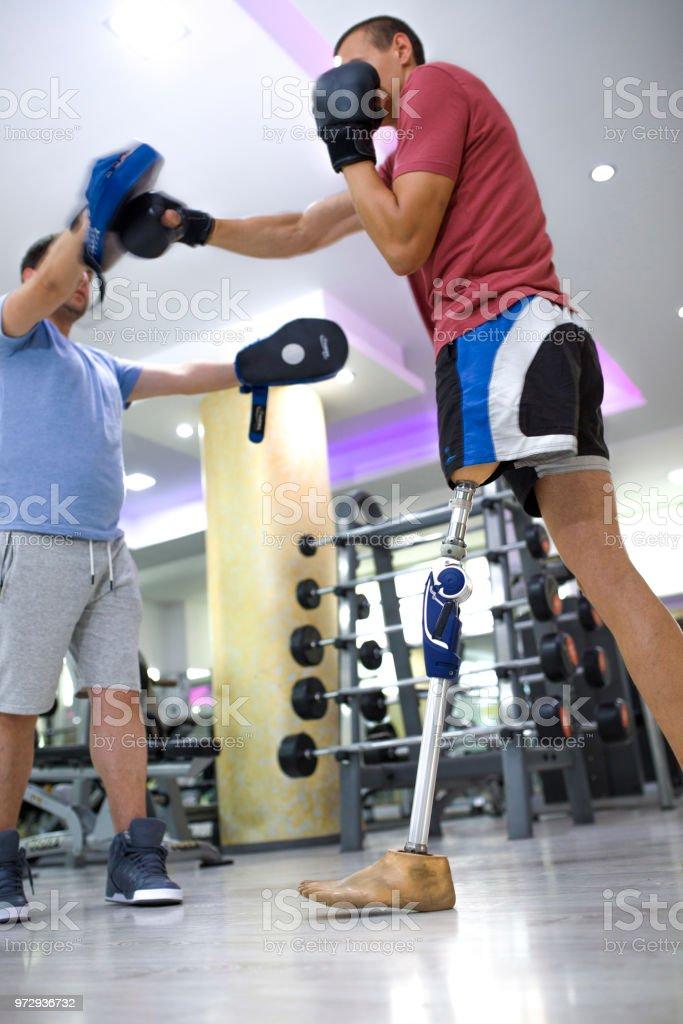 Brave hero in the gym stock photo