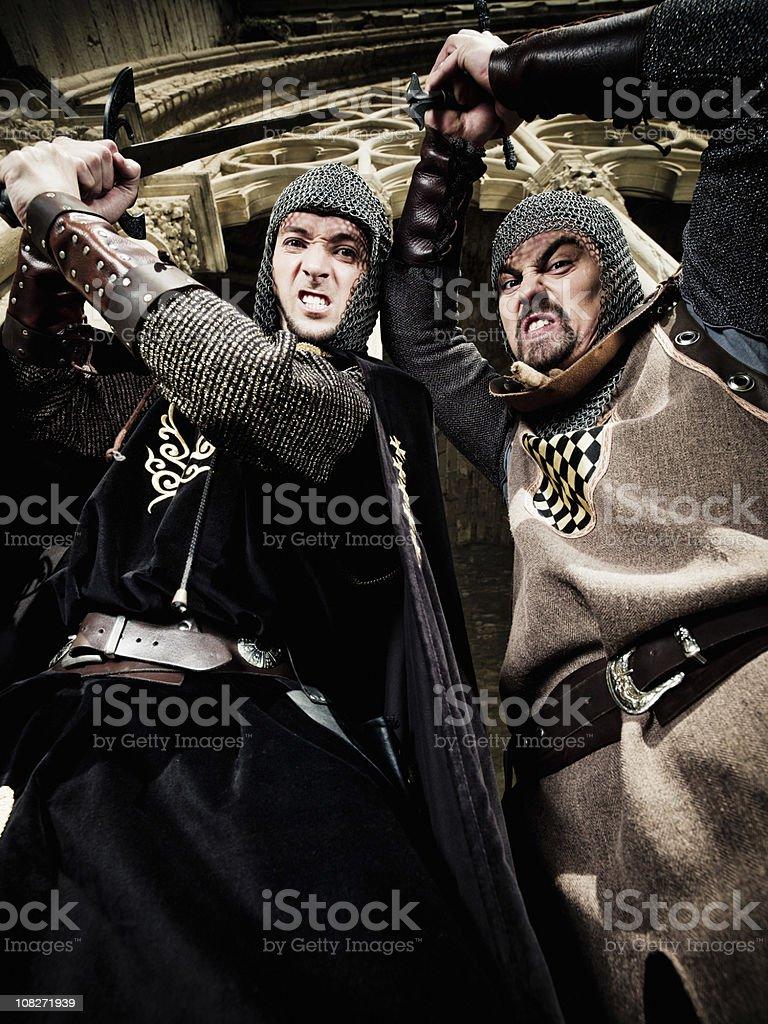 Brave Knights Fighting stock photo