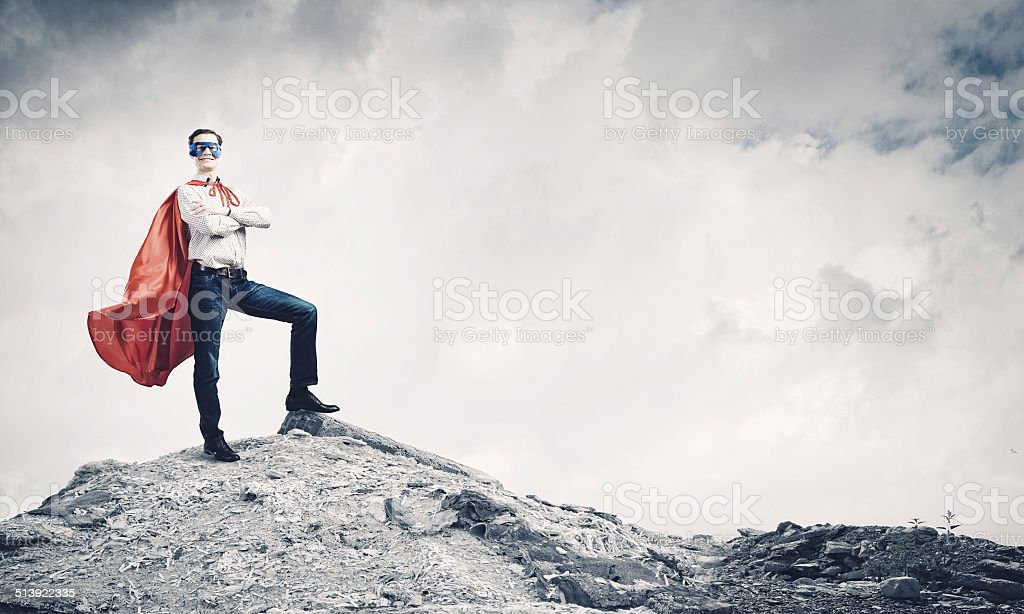Brave superhero stock photo