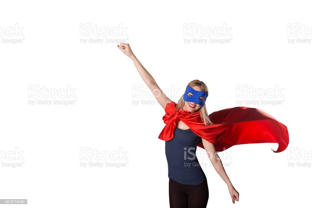 Tapfere Frau Superhelden hob die Hand – Foto