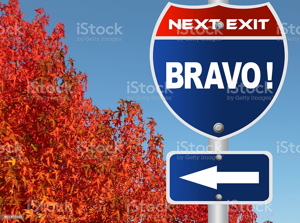 Bravo road sign stock photo
