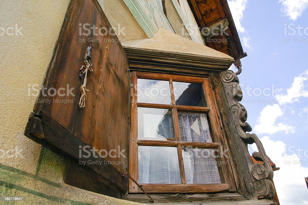 Bravuogn (Bergun, Engadine, Graubunden, Switzerland): two windows of old house stock photo