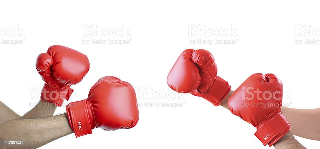 Brawl A view of hands with boxing gloves stock photo