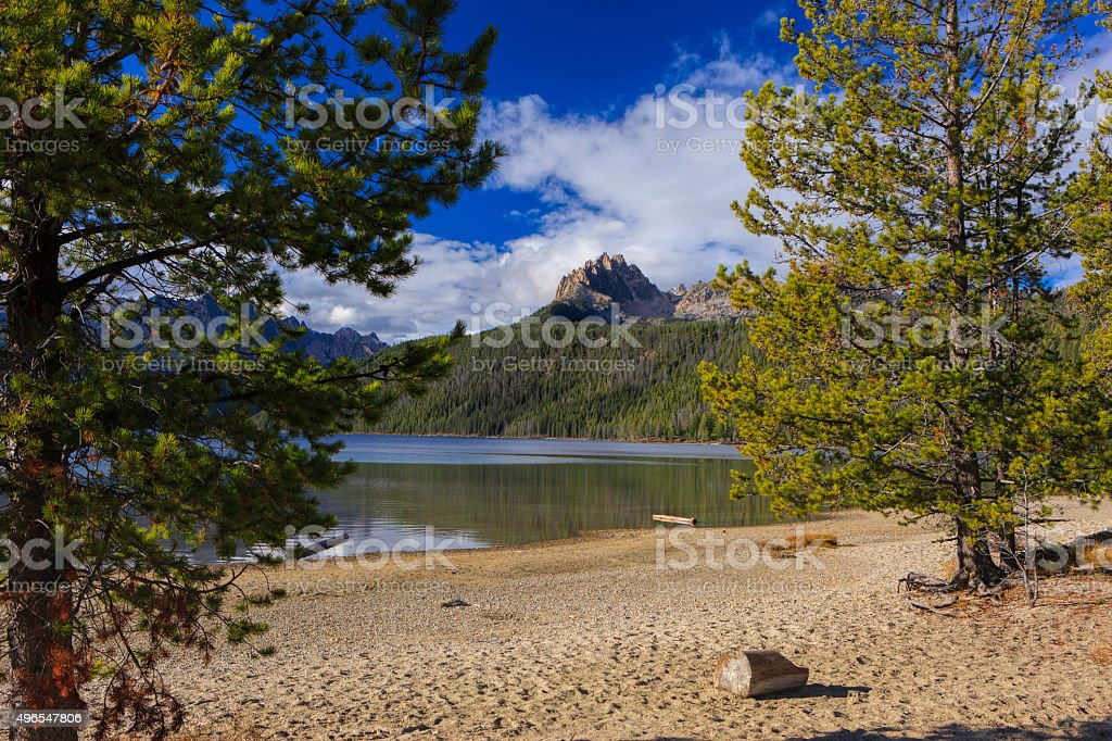 Braxson peak as seen from the lake front. stock photo
