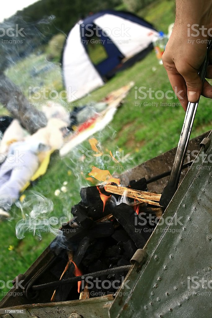 Brazier in camp royalty-free stock photo