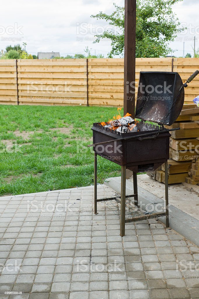 brazier with a cover stock photo