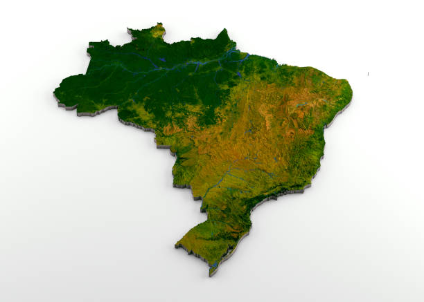 Brazil 3D Physical Map with Relief stock photo
