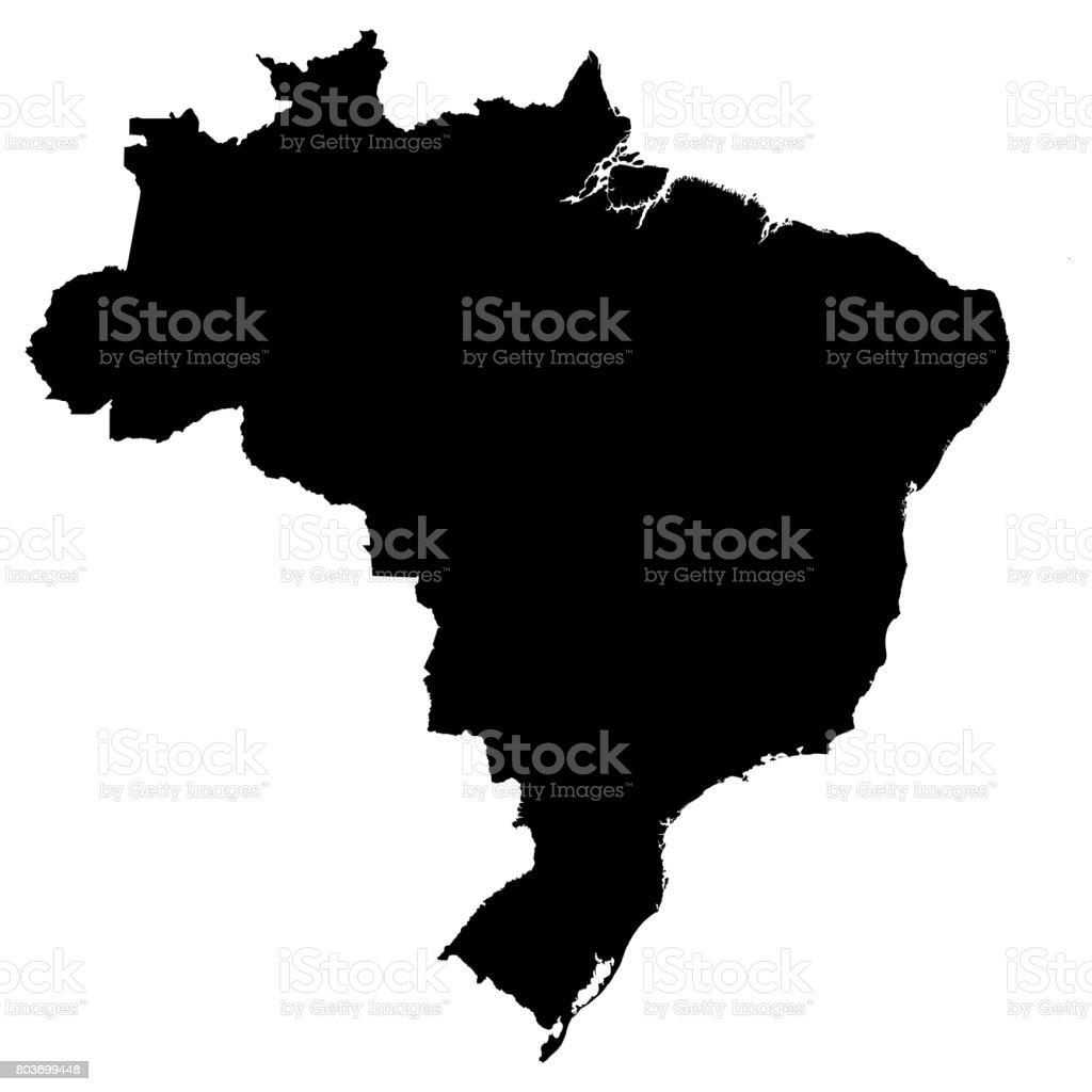 Brazil Black Silhouette Map Outline Isolated on White 3D Illustration stock photo