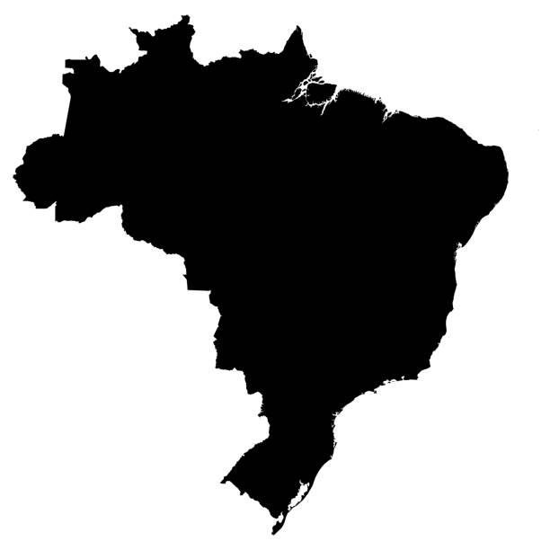 Brazil Black Silhouette Map Outline Isolated on White 3D Illustration - foto stock