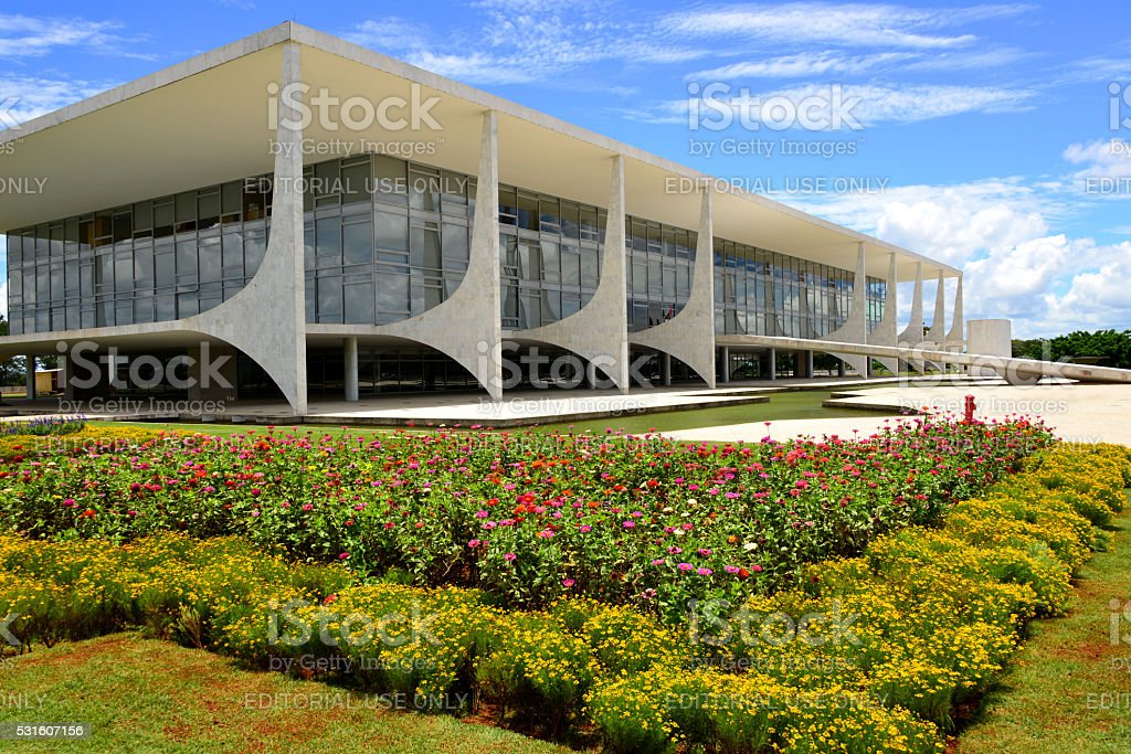 Brazil, Brasilia, Planalto Palace - the presidential offices stock photo