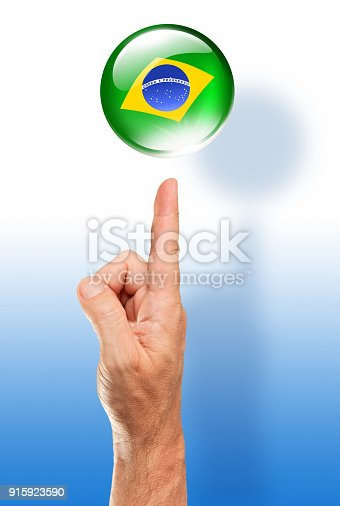 istock Brazil button brazilian flag pointing with human hand 915923590