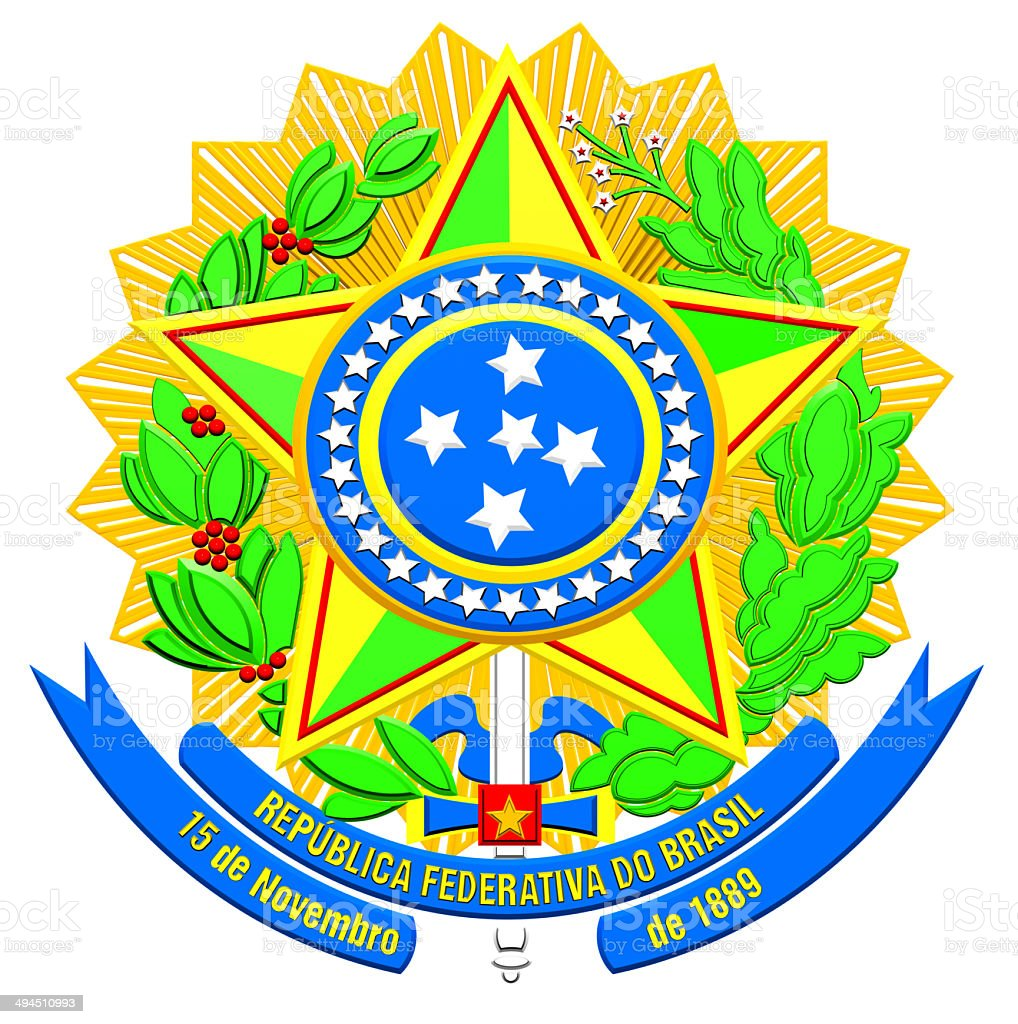 Brazil Coat of Arms stock photo